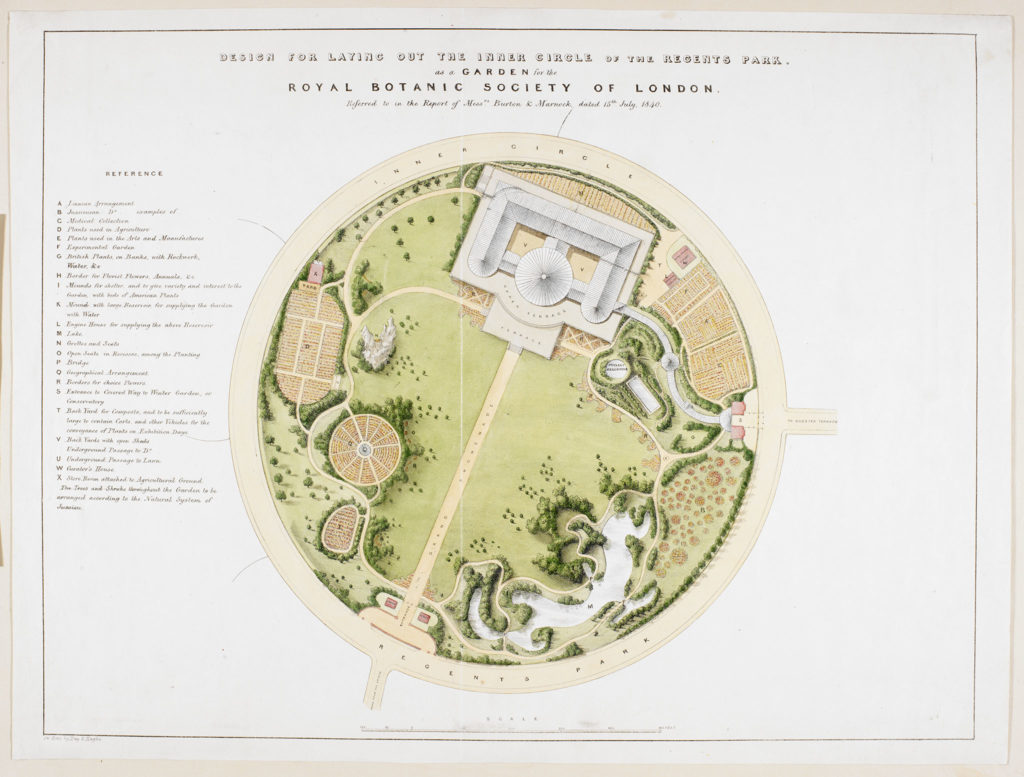 [James Basire's 1840 design of a botanic garden in Regent's Park]