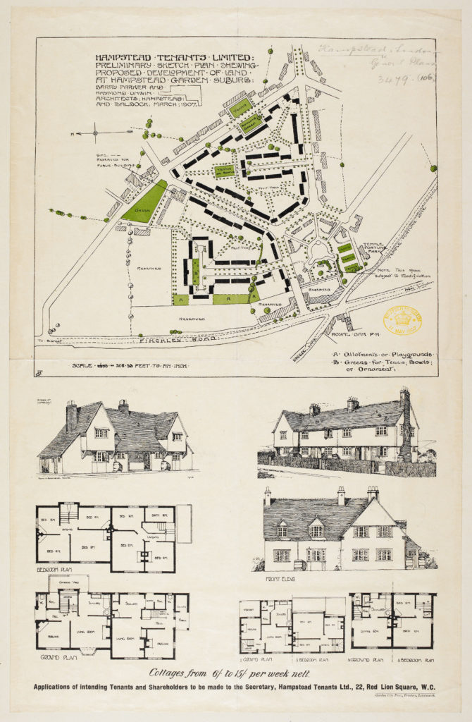 [Barry Parker & Raymond Unwin's 1907 plan for the development of Hampstead Garden Suburb]