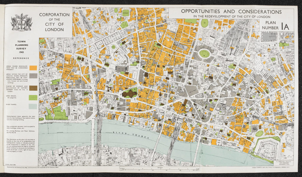 F.J. Forty's 1943 map relating to the post-war redevelopment of the City of London