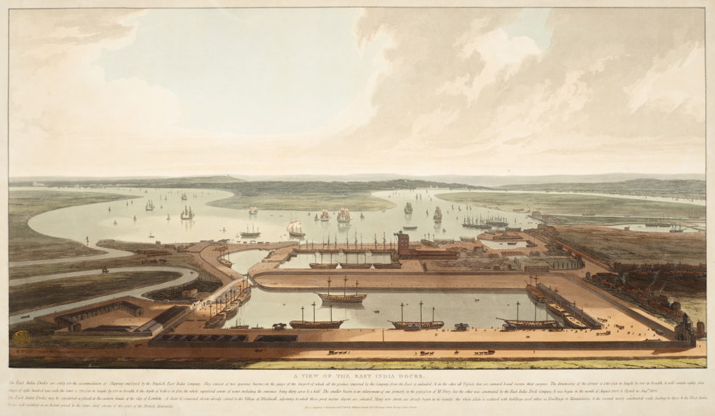 "William Daniell's 1808 ""A View of the East India Docks"""