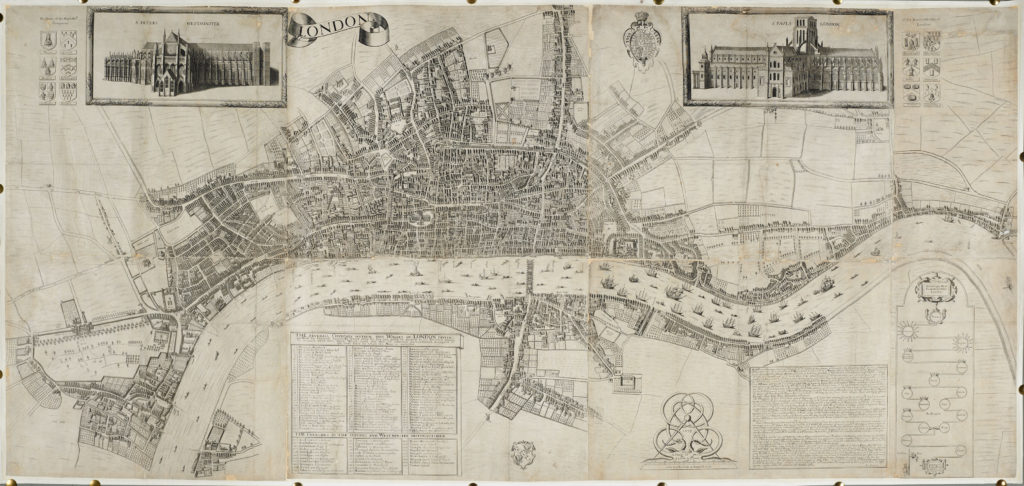 Richard Newcourt & William Faithorne Sr.'s 1661 map of London