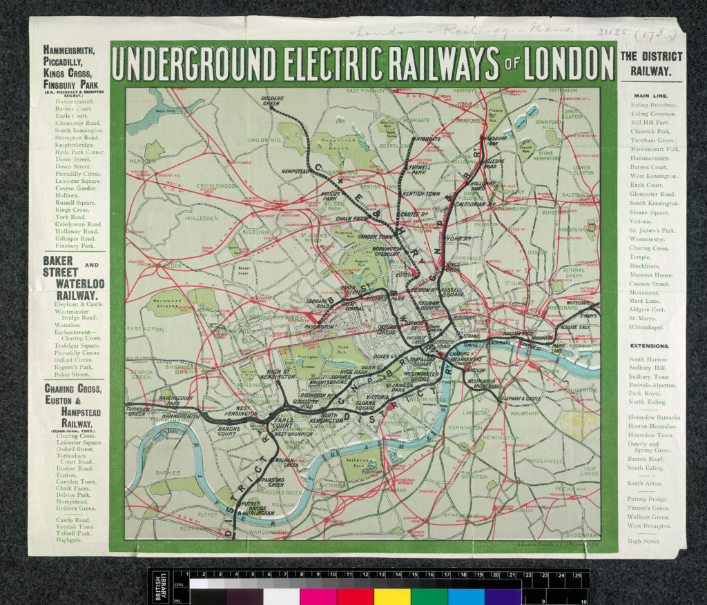 "Johnson, Riddle & Co. 1907 map ""Underground Electric Railways of London"""