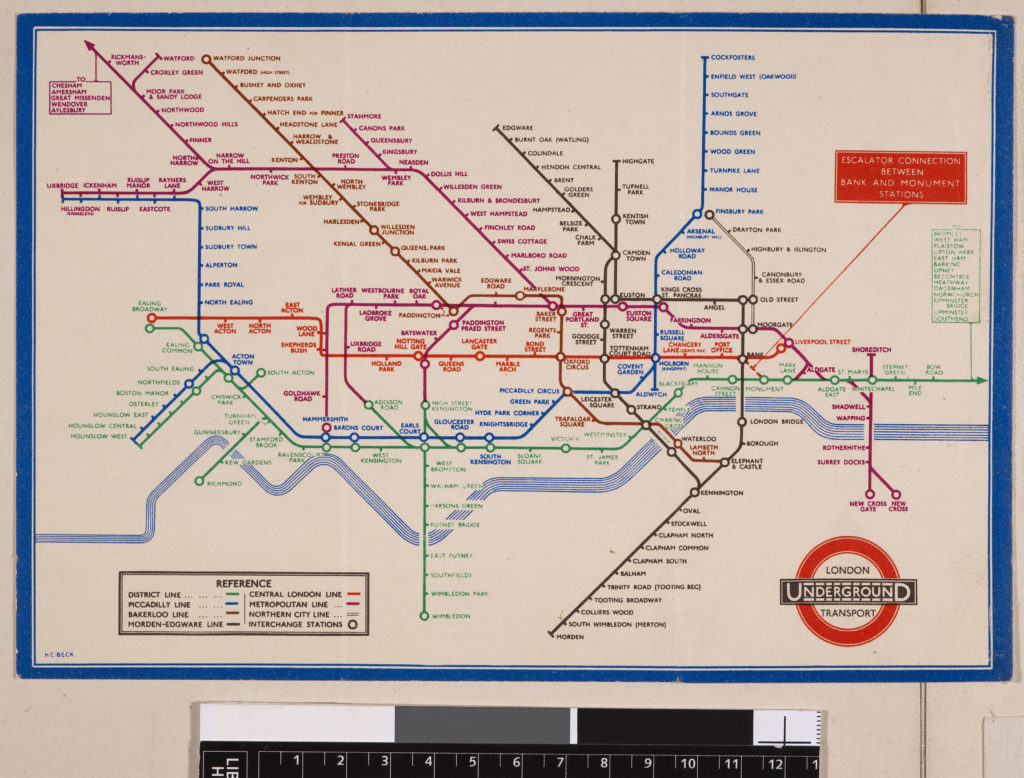 "London Passenger Transport Board's 1935 ""Railway Map"" designed by Harry Beck"