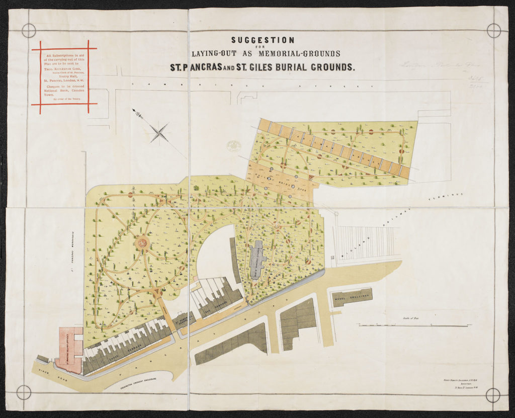 [Henry Hewitt Bridge's 1876 suggestion for St. Pancras and St. Giles Burial Grounds]