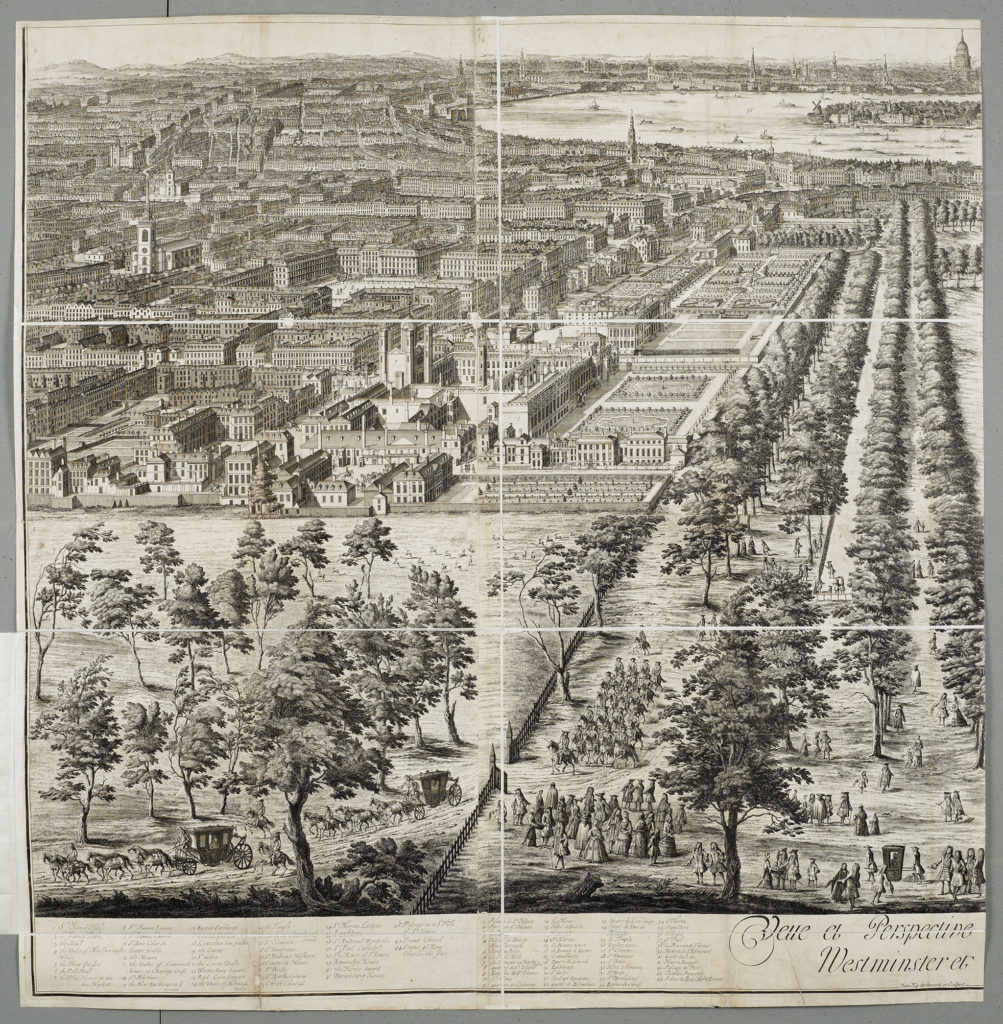 [Jan Kip c.1728, View of London & St. James' Park from the roof of Buckingham House]