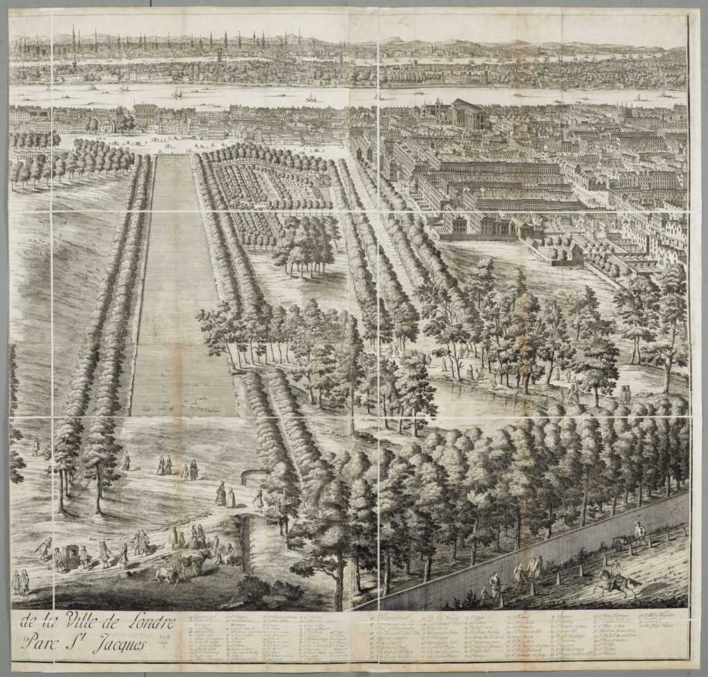 [Jan Kip c.1728, View of Westminster & St. James' Park from the roof of Buckingham House]