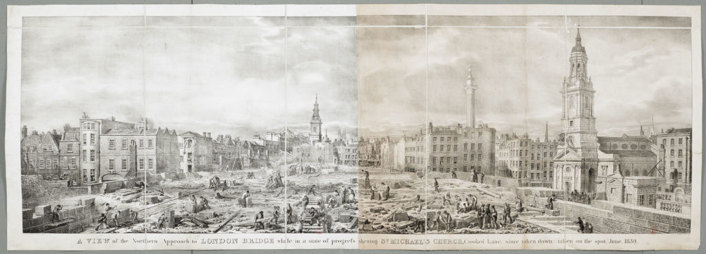[George Scharf's June 1830 view of London Bridge under construction - the northern approach]