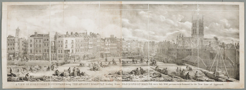 [George Scharf's July 1830 view of London Bridge under construction - the southern approach]