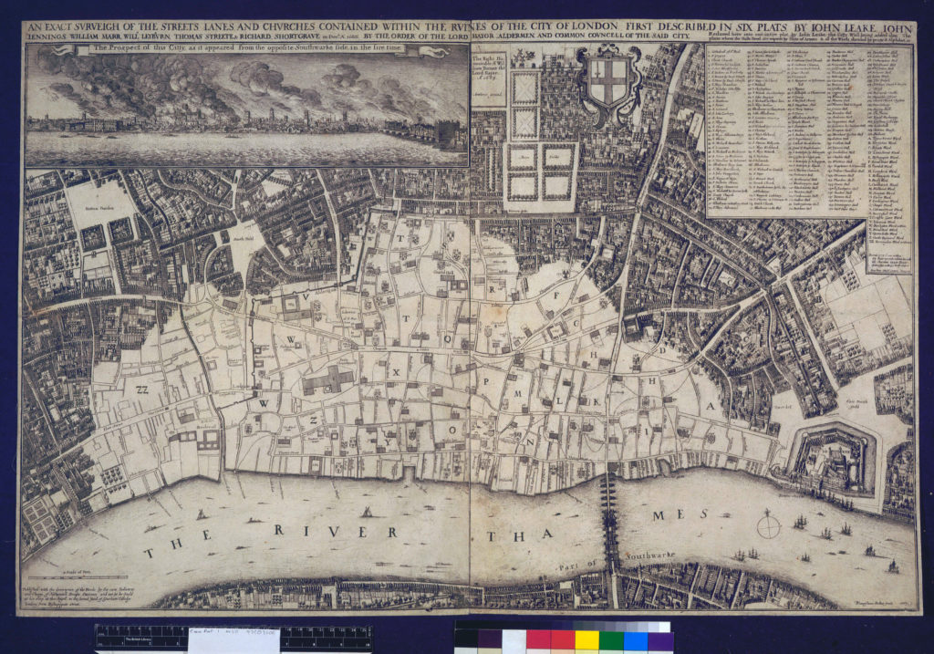 Wenceslaus Hollar's 1667 survey of the City of London after the Fire