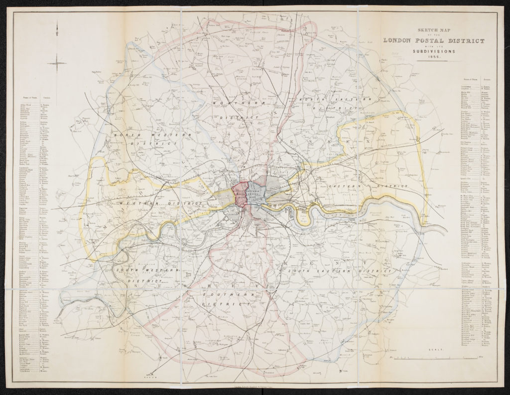 E. Stanford's 1856 sketch map of London Postal Districts